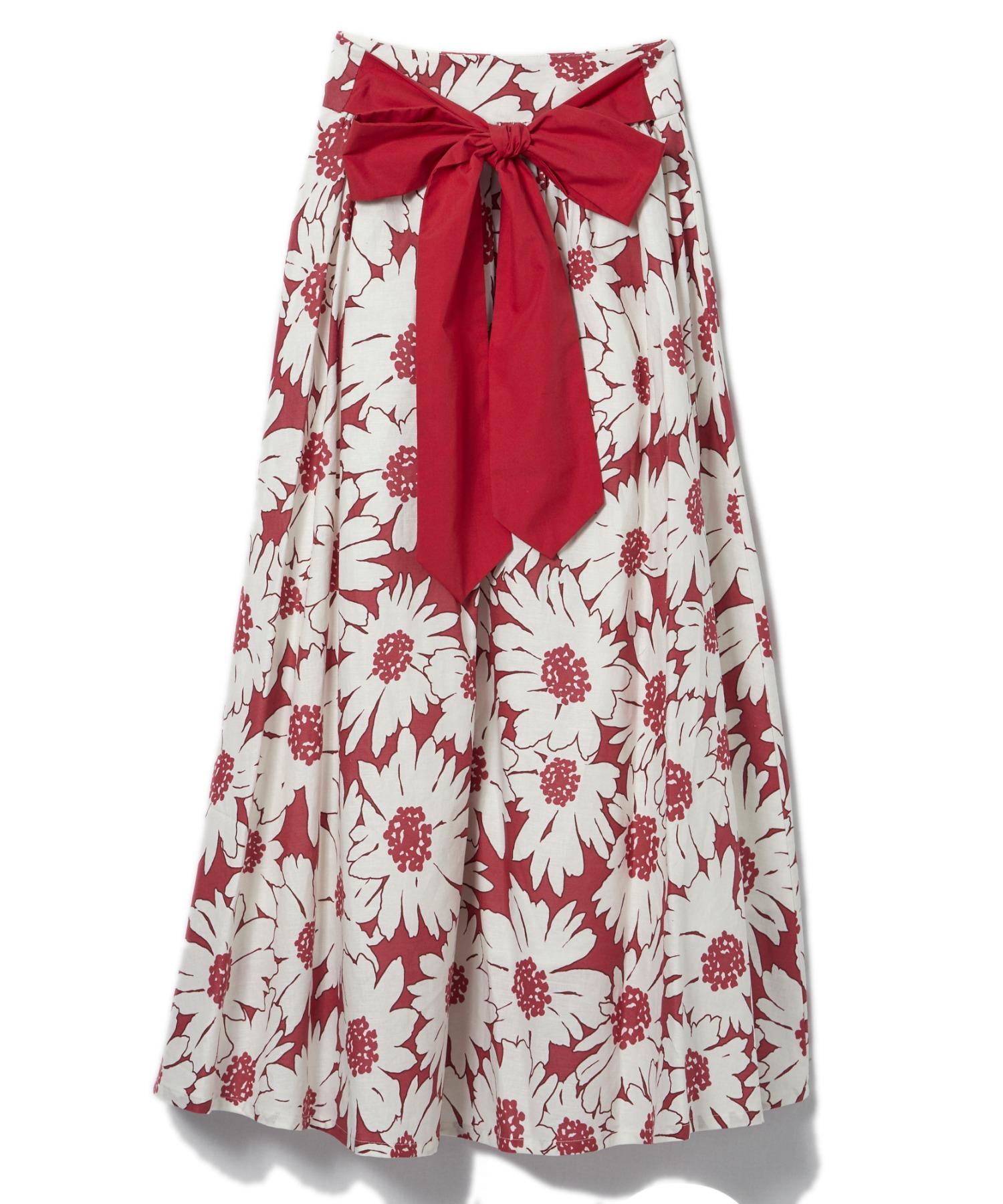 フラワープリントバックリボンスカート