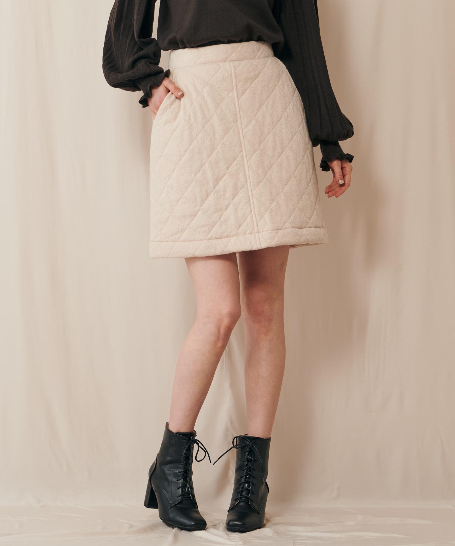 プリントキルティングスカート