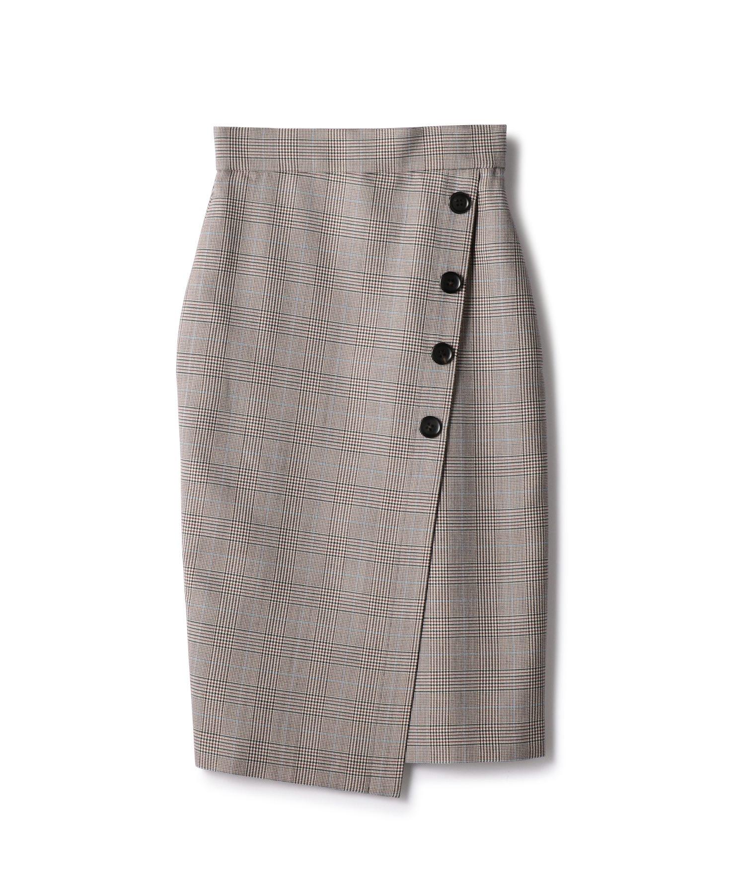ESTNATION グレンチェックボタンスカート