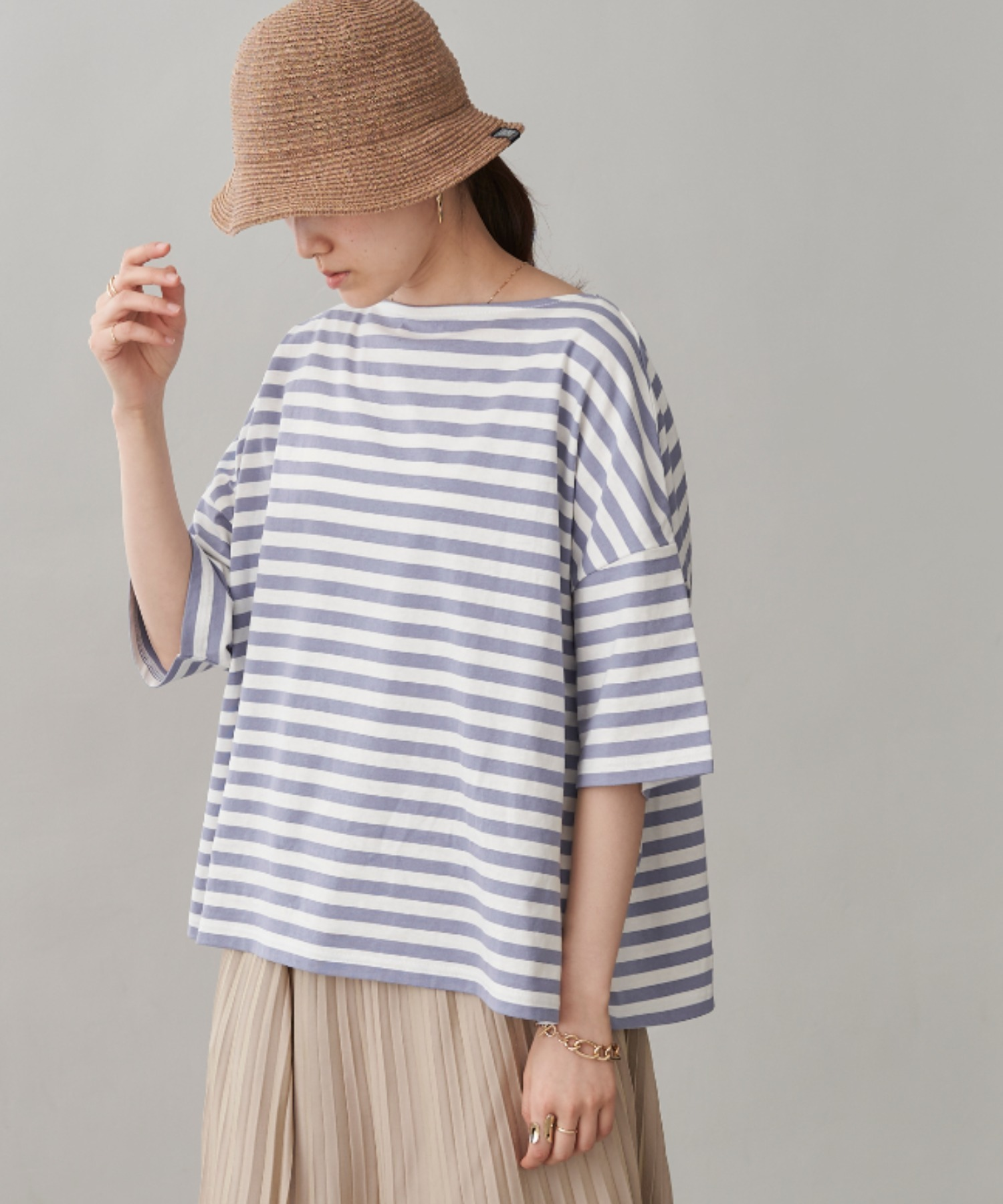 オーバーサイズ バスクボーダー半袖Tシャツ