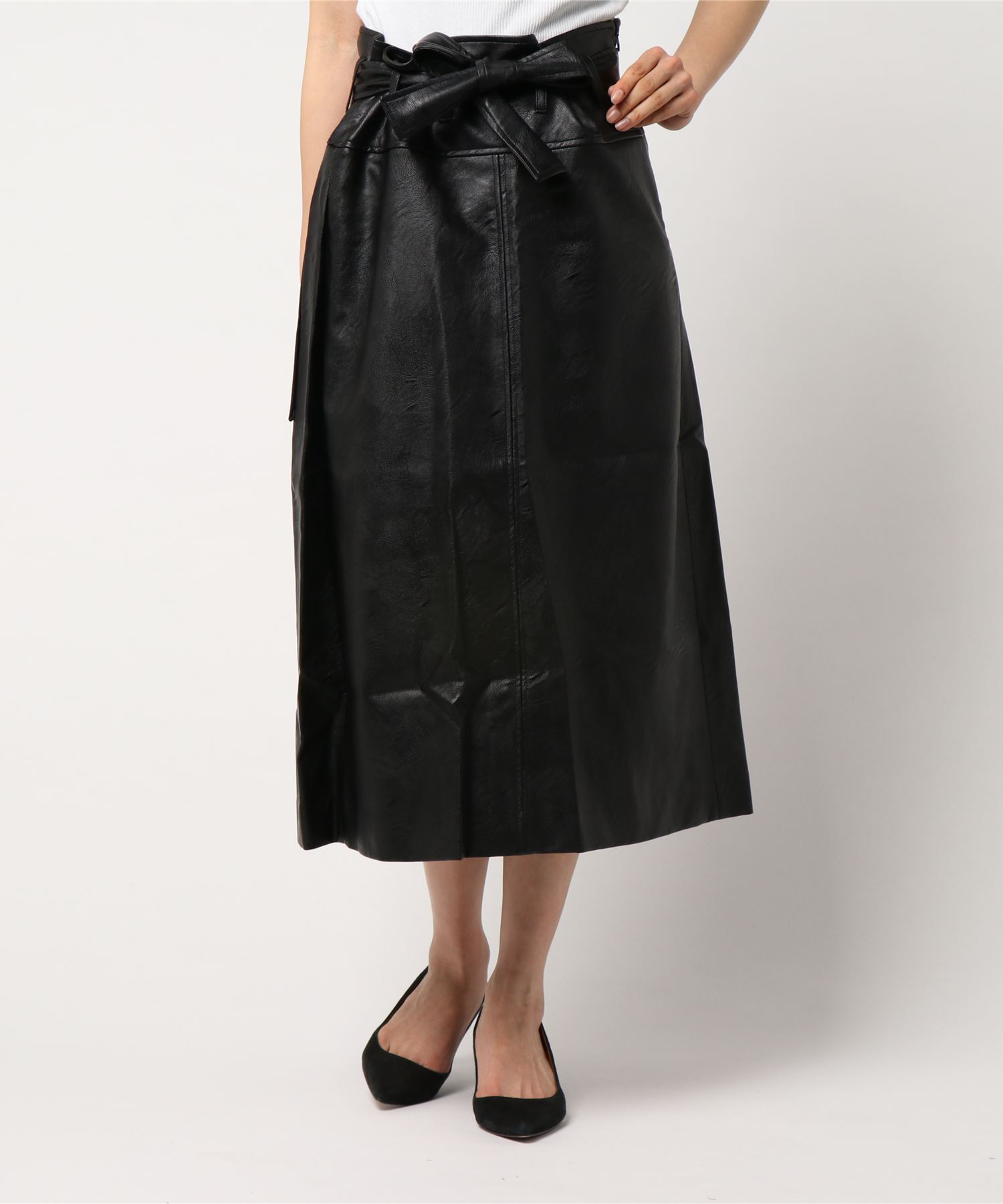 【No.6】Fiels Skirt Black Faux Leather