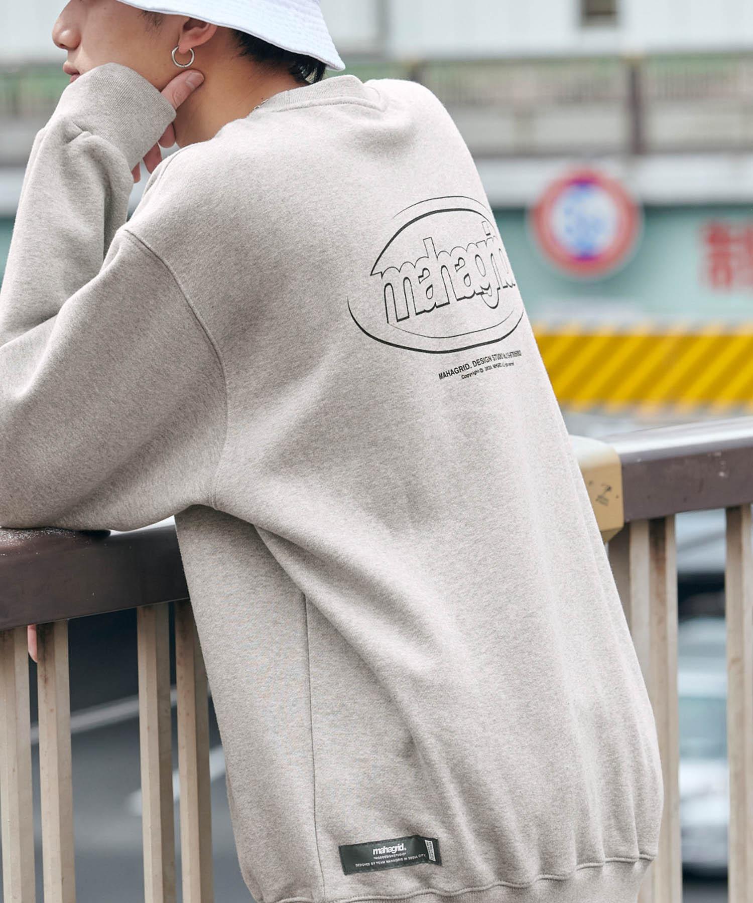 MAHAGRID/マハグリッド  MARU LOGO/OVAL LOGO SWEAT SHIRT ロゴデザイン オーバーサイズプルオーバースウェット [韓国ストリートブランド]