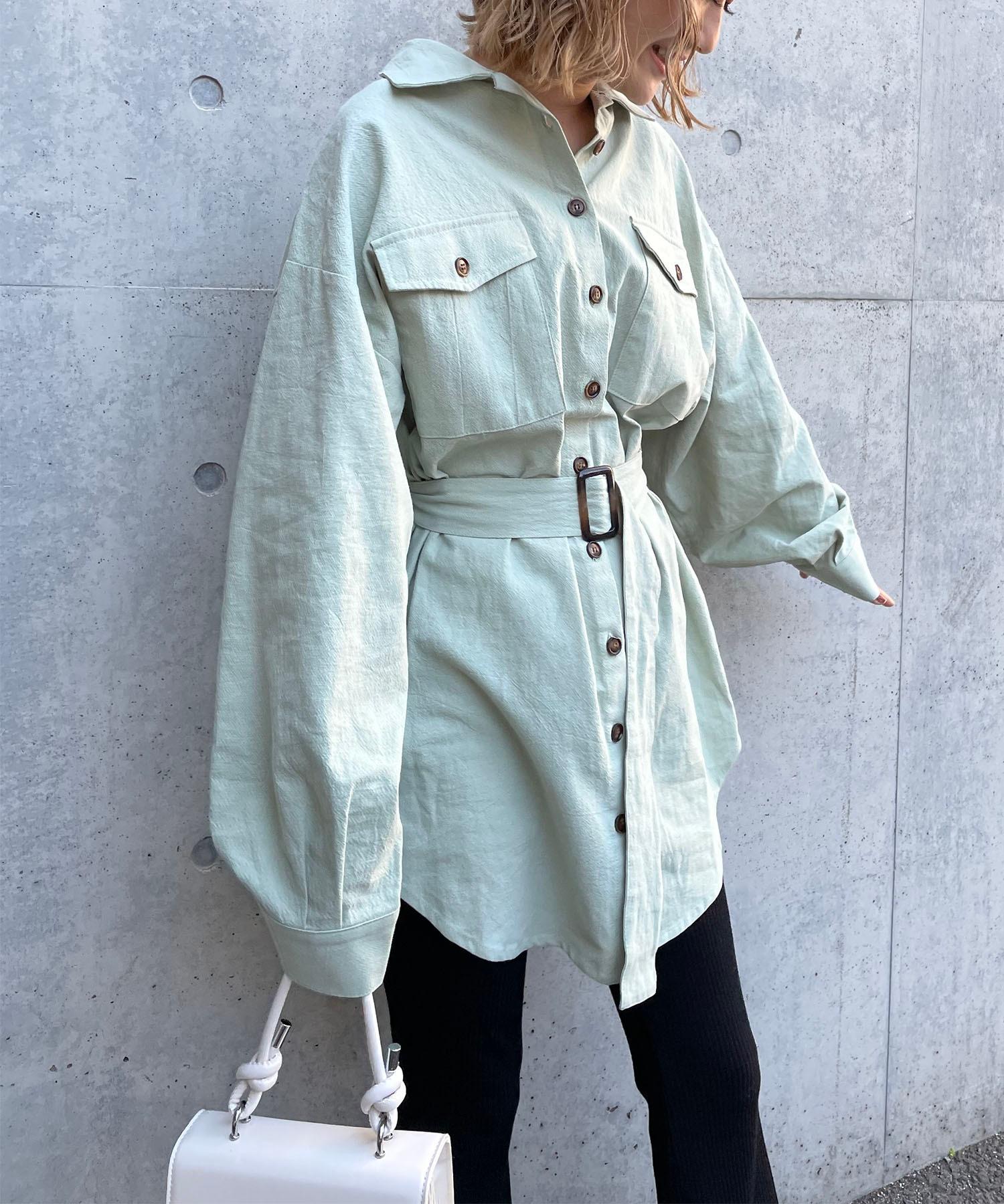 ベルト付きシャツジャケット
