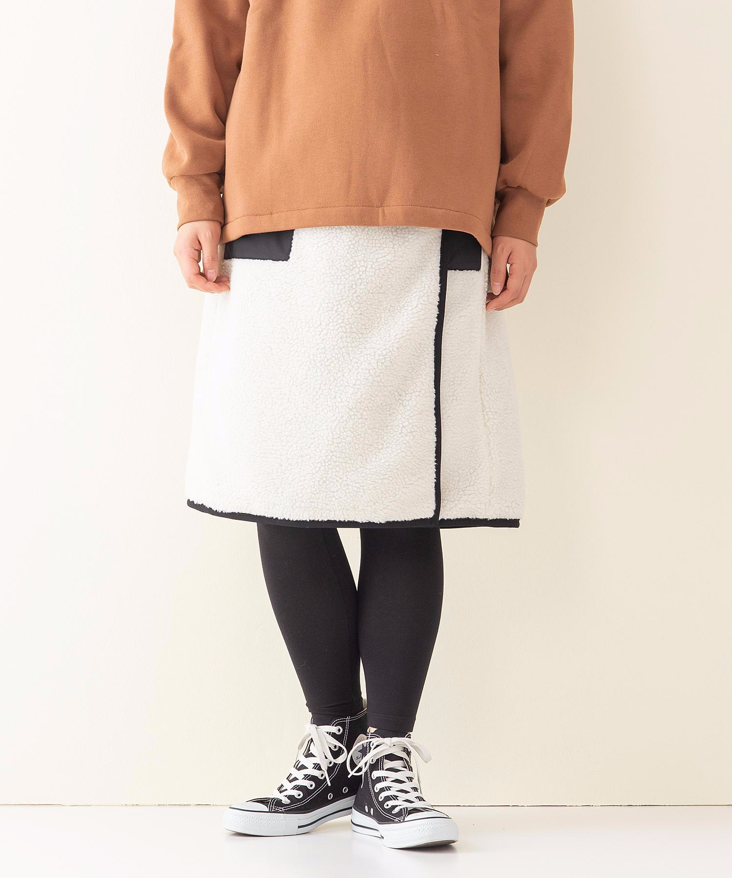 ボアリバーシブルスカート 裏側フリース素材 リバーシブル仕様