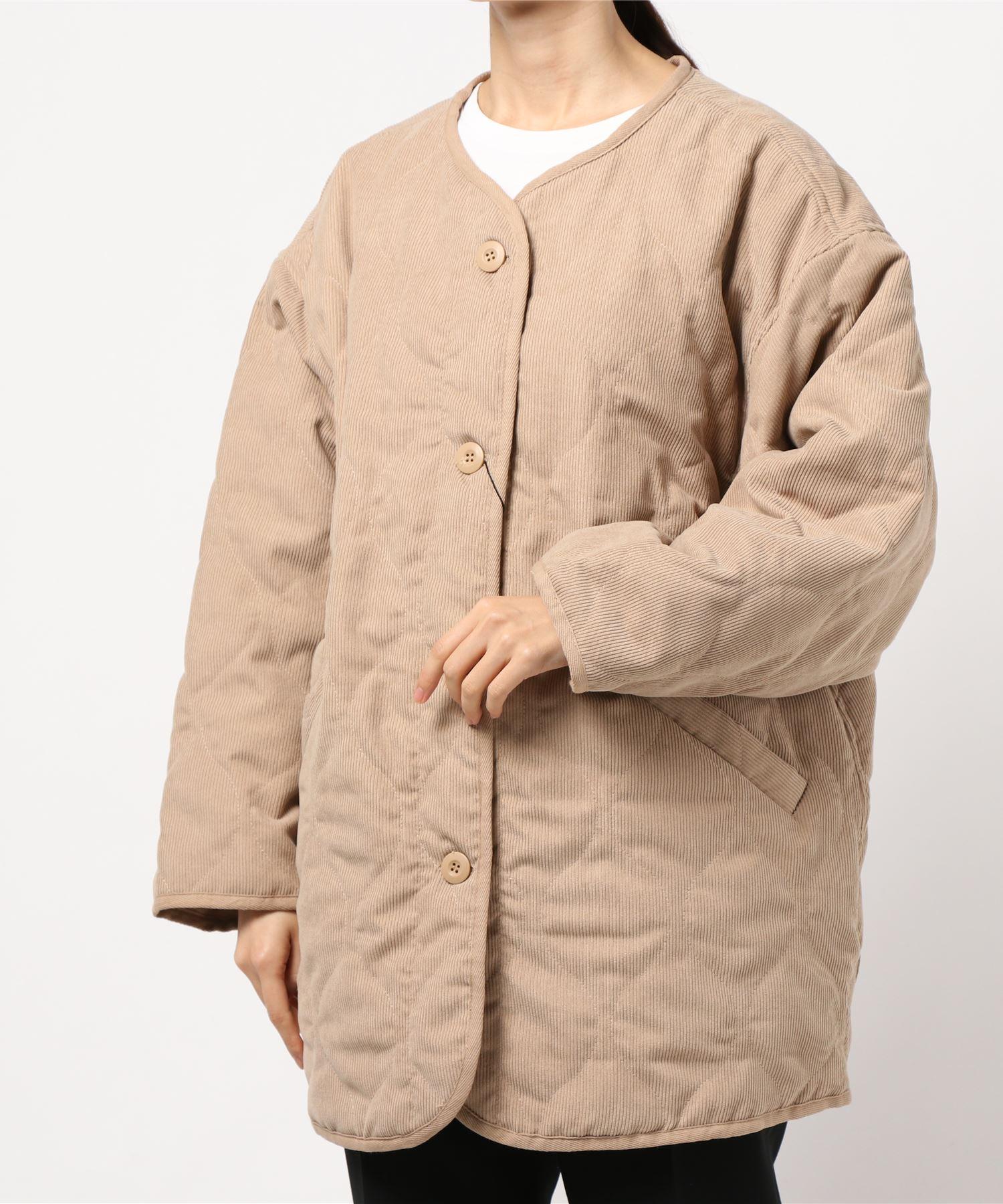 キルトノーカラー コーデュロイジャケット ウェーブキルティングジャケット