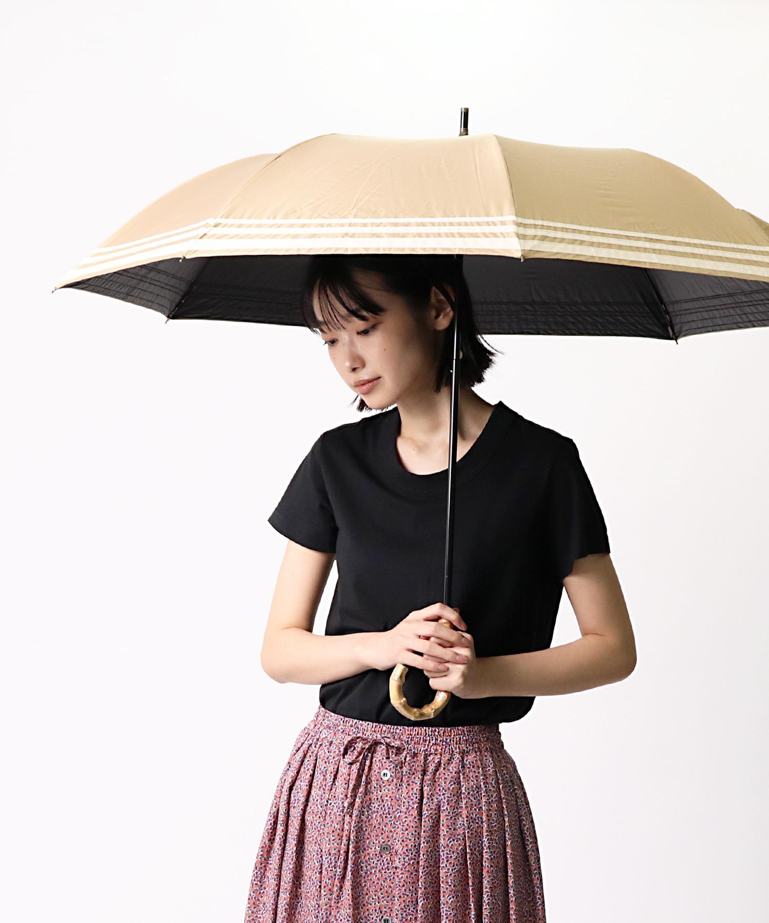 晴雨兼用 マリンボーダー 竹手元 折りたたみ傘 27393