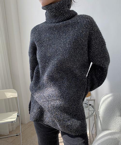 【chuclla】【2020/AW】Side slit turtleneck knit chw1395
