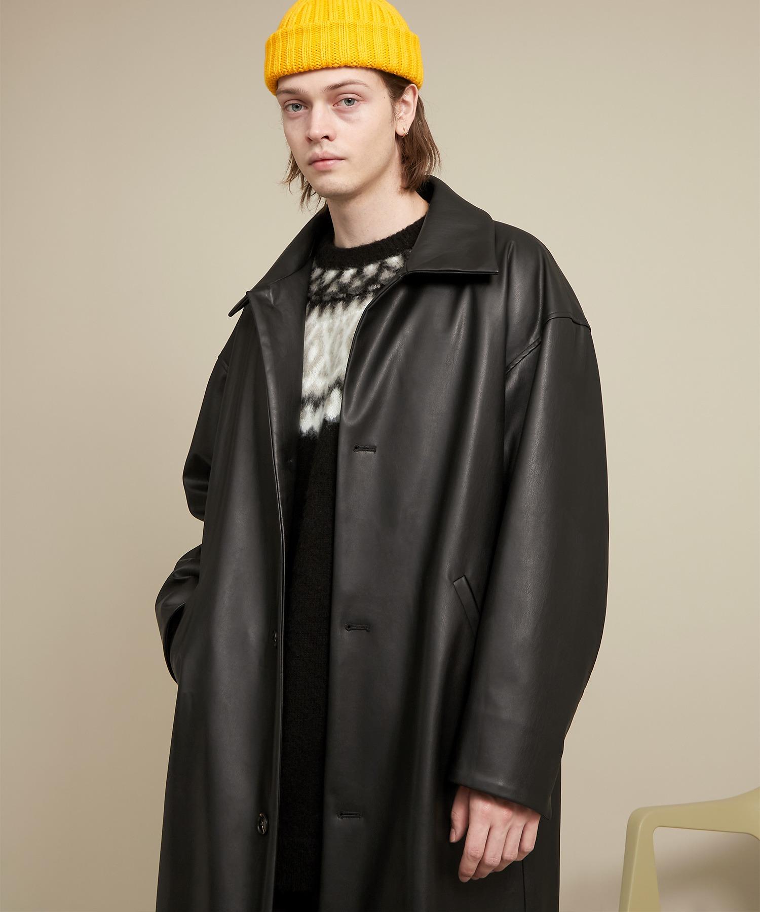 シンセティックレザー オーバサイズ ルーズスリーブバルカラーコート EMMA CLOTHES 2020AW