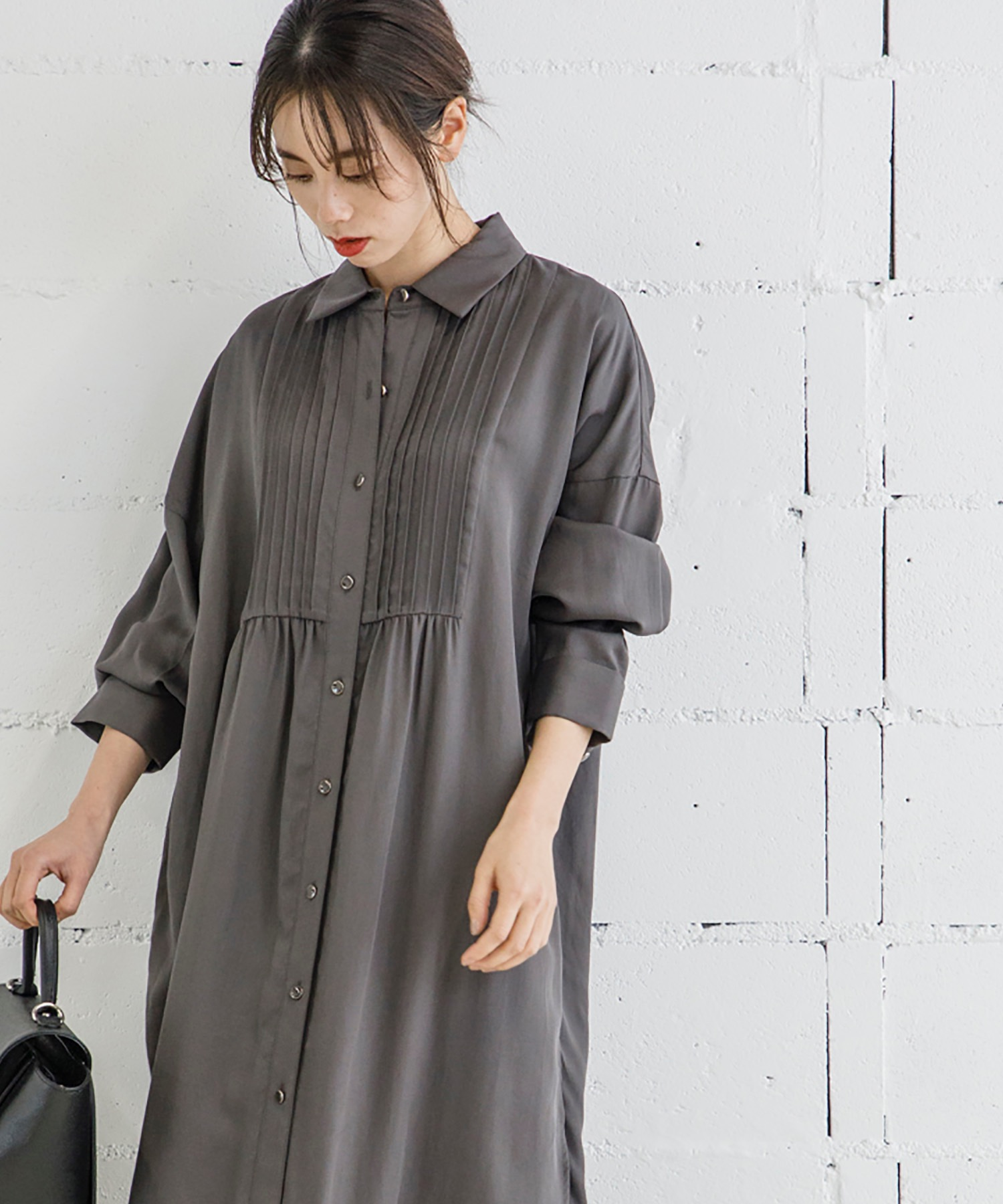 ピンタックシャツドレス