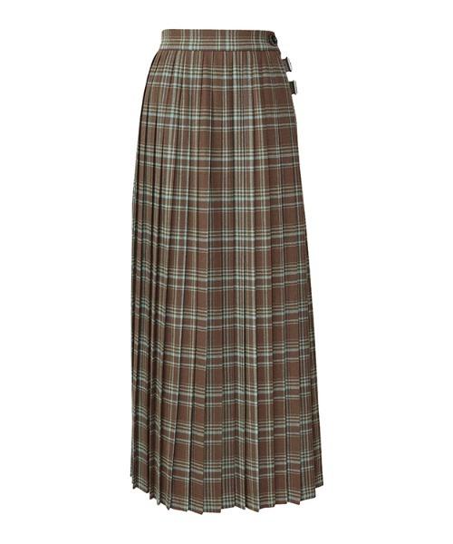マキシ丈プリーツ巻スカート