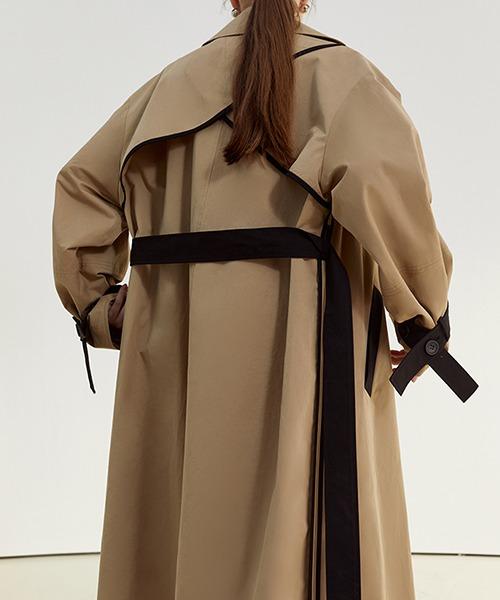 【Fano Studios】【2021SS】Oversized bicolor single trench coat cb-3 FC21W052