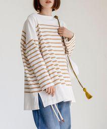 チュニック丈パネルボーダーTシャツ