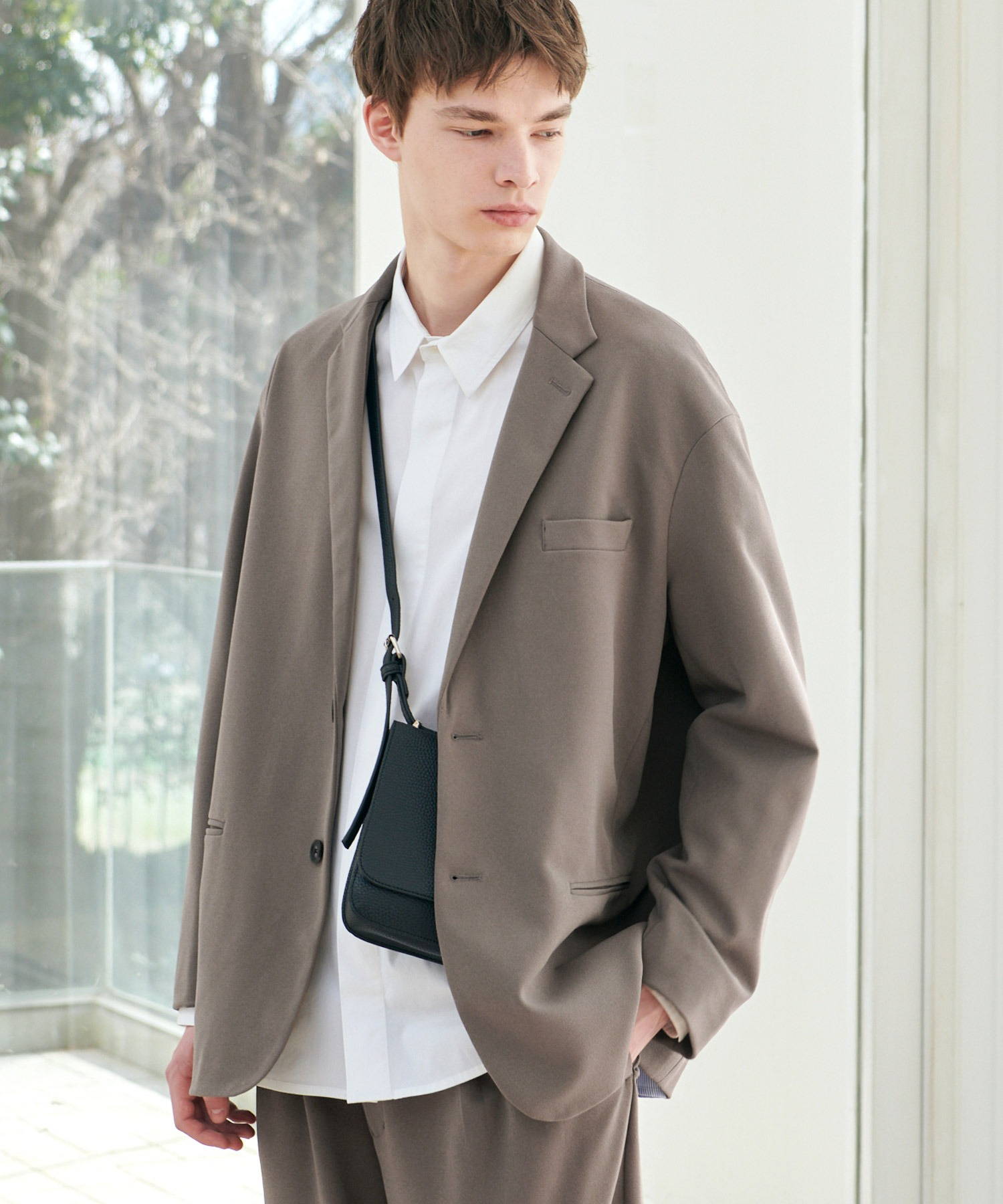 【セットアップ】梨地ルーズリラックス オーバーサイズ テーラードジャケット&テーパードワイドパンツ EMMA CLOTHES 2021 S/S