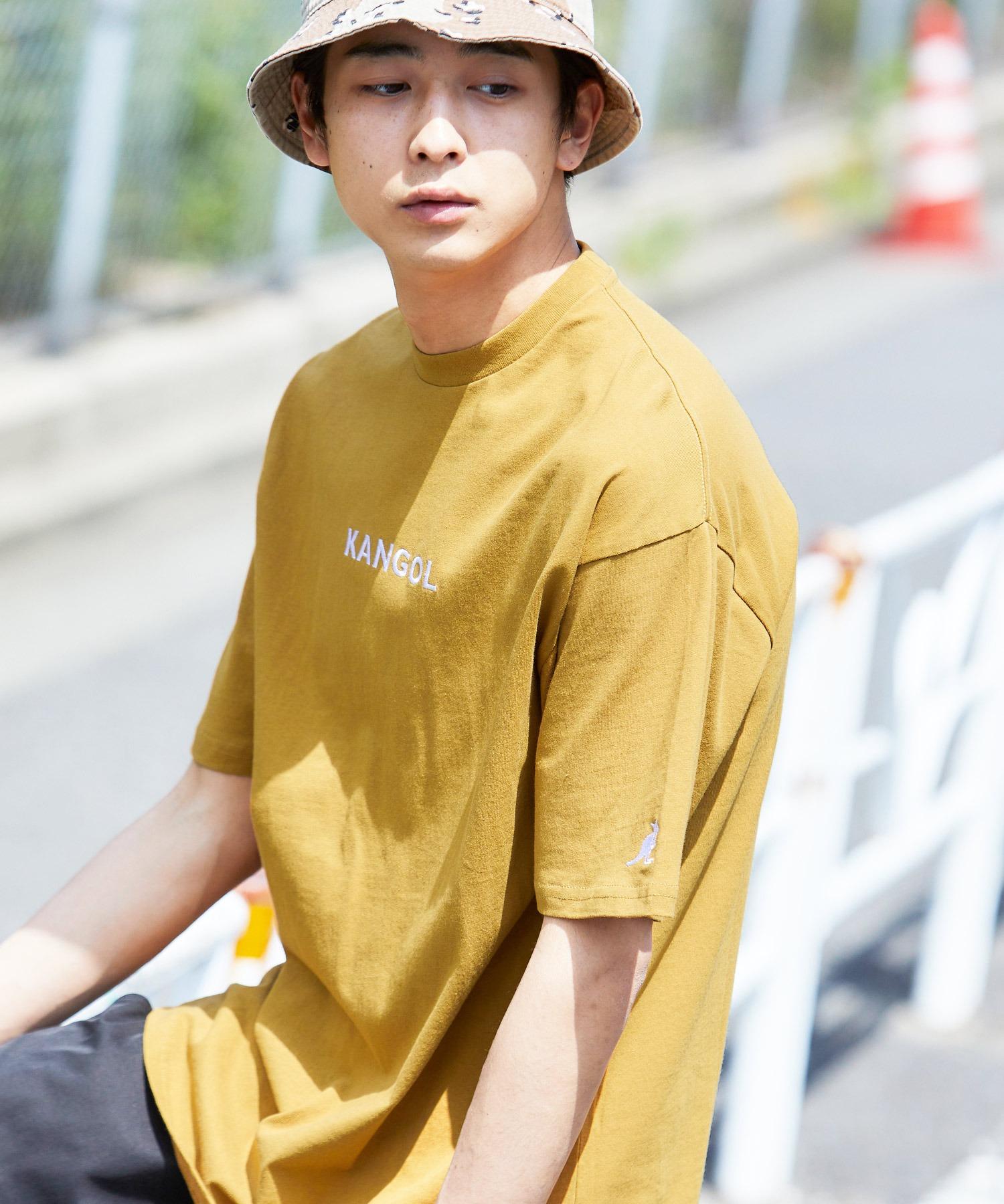 ▽WEB限定 MONO-MART×KANGOL 別注ロゴ刺繍 プリント半袖Tee オーバーサイズカットソー