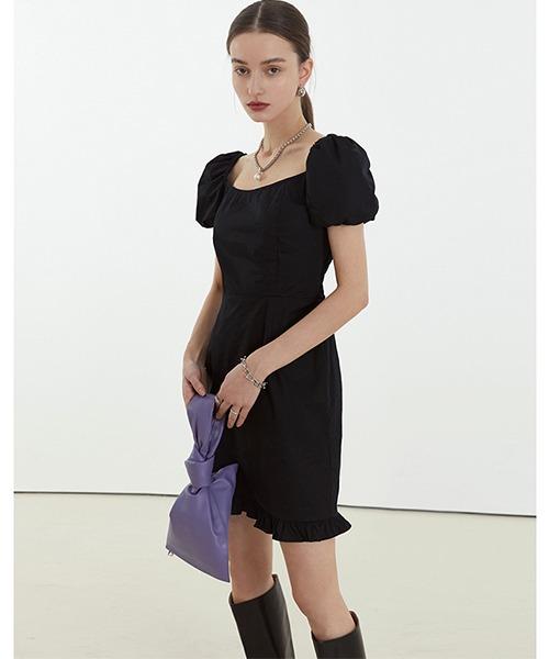 【Fano Studios】【2021SS】Square neck puff sleeve short dress FC21L021