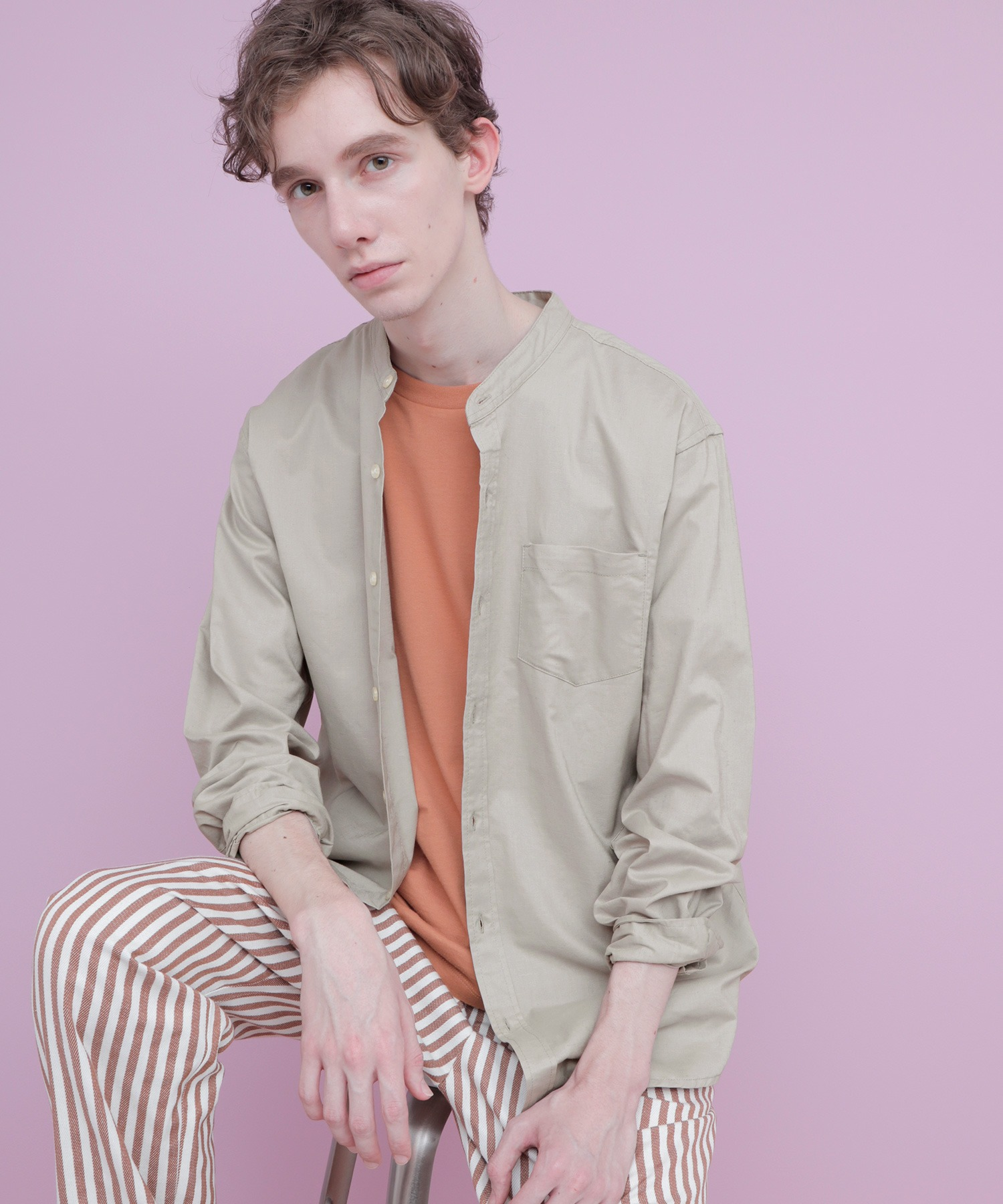 【WEB限定】LINEN×COTTONオーバーサイズストレッチバンドカラーシャツ