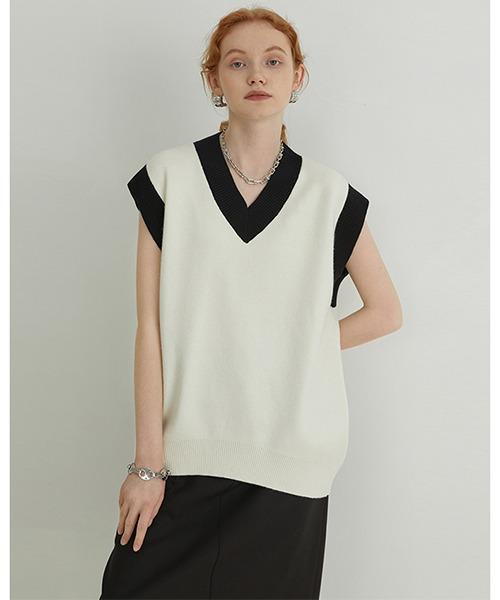 【Fano Studios】【2021AW】Contrasting color V-neck sweater vest FX21S288