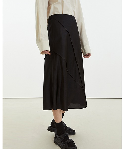 【Fano Studios】【2021SS】High waist drape semi-long skirt FC21B021