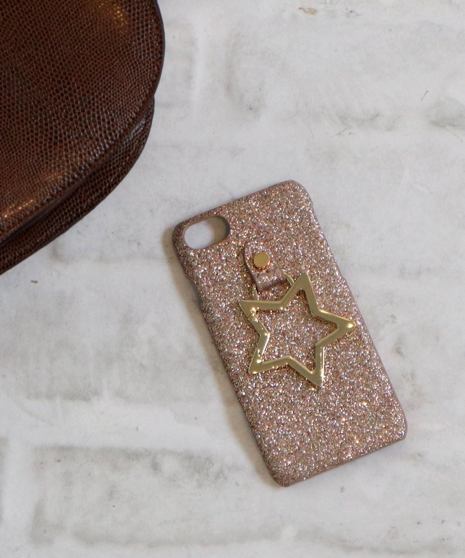 【 Hashibami / ハシバミ 】 # iPhone 8/7/6/6s/SE(第2世代) スマホ 携帯カバーグリッターリング付きケース