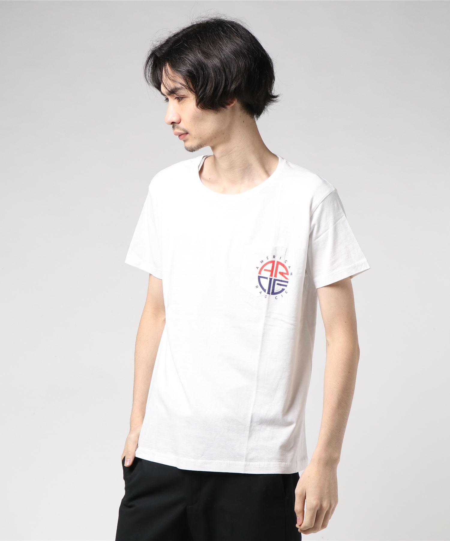AMERICAN RAG CIE ARC Out Of The Box Round Logo Print Pocket T Shirt/アメリカンラグシー ARCはみ出しラウンドロゴプリント1ポケT