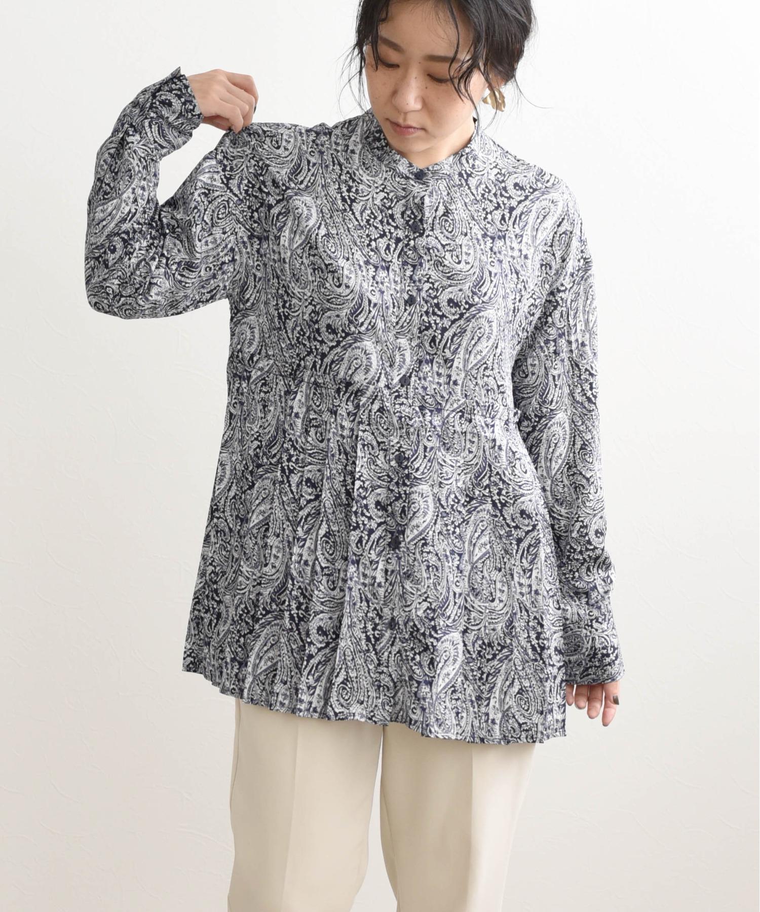 ペイズリープリーツシャツ