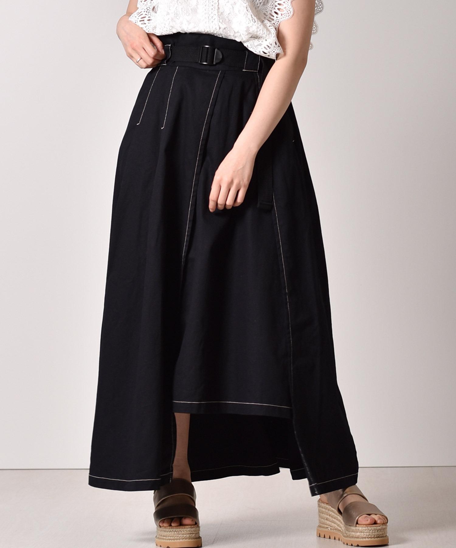 ベルト付ロングフレアスカート