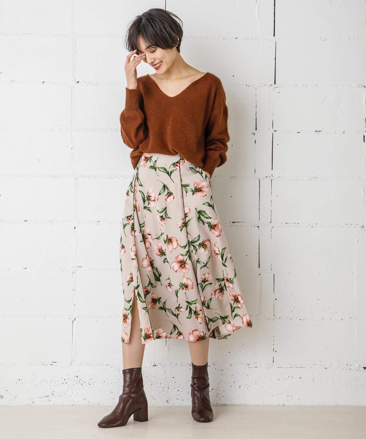 【STYLEBAR】ヴィンテージフラワーフレアスカート